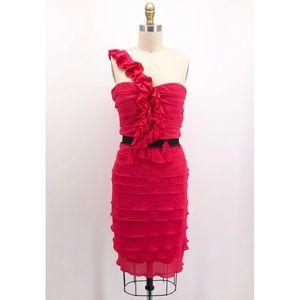 BCBGMAXAZRIA Azalea One Shoulder Ruffle Dress